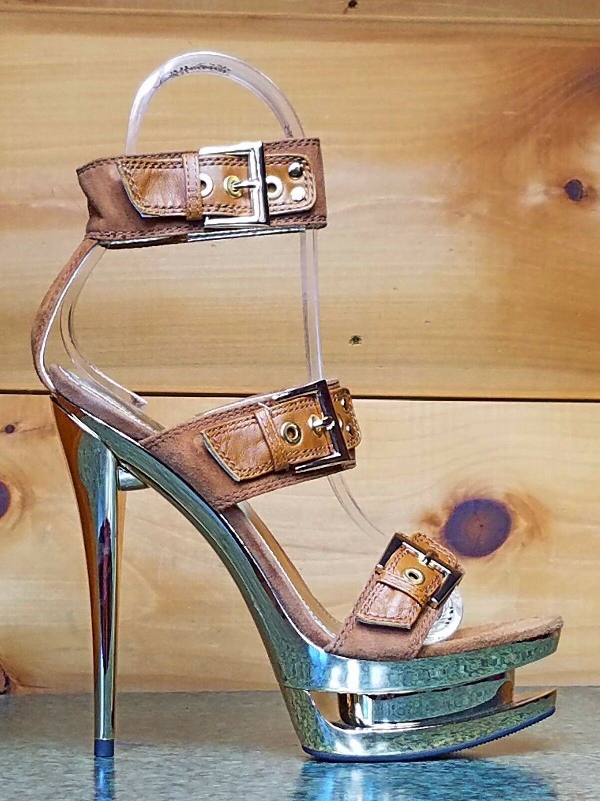 Fascinate 652 Tan Leather Suede Triple Buckle Strap Gold Platform 6  Heel schuhe