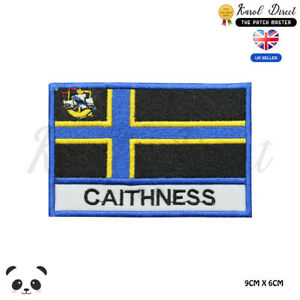 CAITHNESS-Scotland-County-Flag-With-Name-Embroidered-Iron-On-Sew-On-Patch-Badge