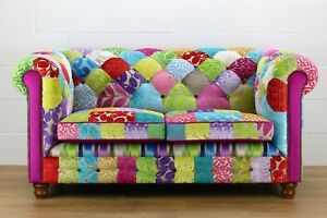 Patchwork Chesterfield 2 Seater Sofa Designers Guild Fabric Ebay
