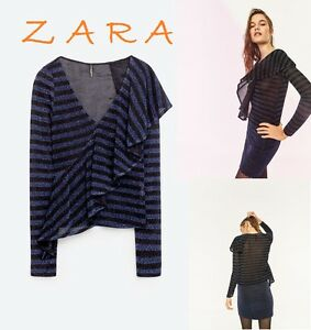 946a5d05aa8d22 ZARA Blue Black Striped Top Front Frill Long Sleeve V-Neck New (RT ...