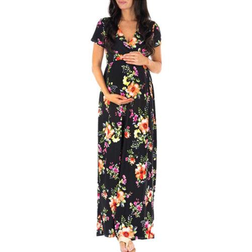 Schwangerschaftskleid Damen Blumen Wickelkleid Maxikleid Kurzarm Umstandskleid
