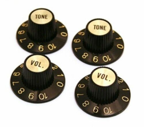 Black//Gold Witch Hat Knobs for USA Gibson® Guitar//Bass fits 6mm CTS Pots 4