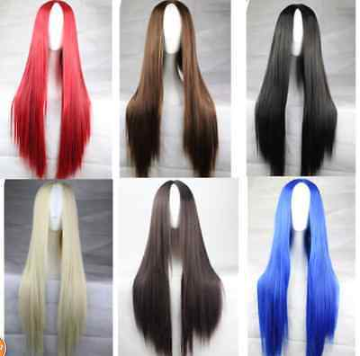 "32"" Women Long Straight Heat Resistant Hair Costume Cosplay Fashion Full Wig"