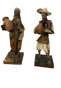 2 rare vintage fatto a mano Messicano cartonería FOLK CARTA PESTA Figure