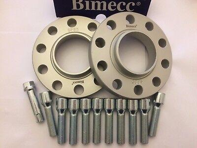 15mm BIMECC SILVER HUB CENTRIC SPACERS 10 X 40mm BOLTS FITS AUDI M14X1.5 66.6
