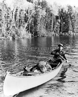 Antique Reprint 8x10 Photograph Of Michigans Famous Fred Bear, Bow, Deer, Canoe