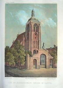GDANSK-DANZIG-Bartholomaeus-Kirche-Ansicht-1856-Original