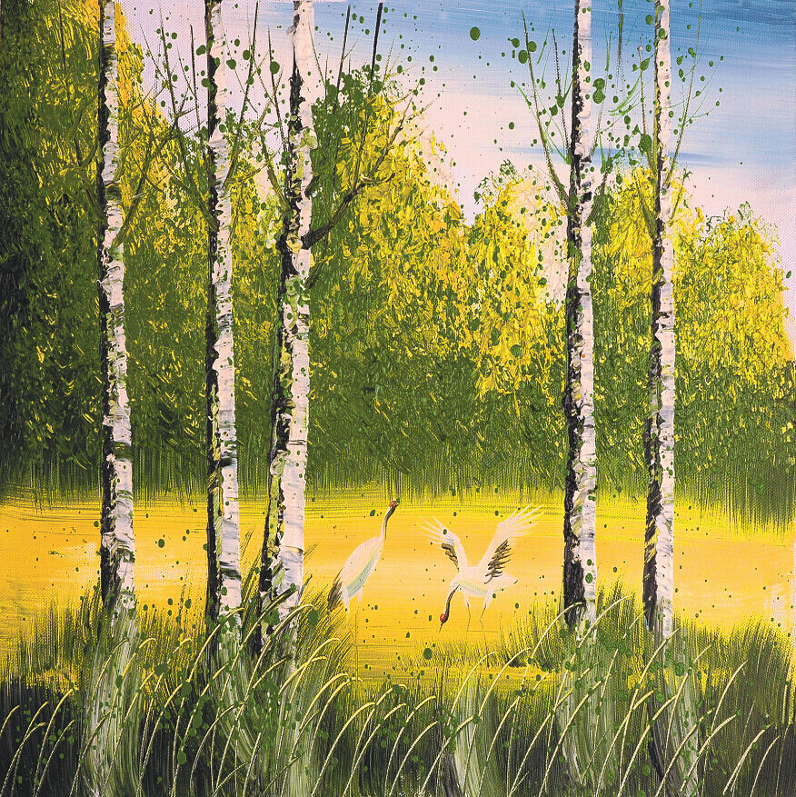 3D Wilderness Cranes Painting 40 Wall Paper Wall Print Decal Wall AJ Wall Paper