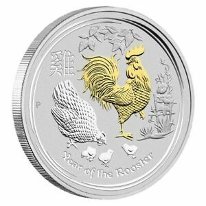2017 Lunar Year of the Rooster Gilded 1oz Silver Proof Coin - FREE EXPRESS POST