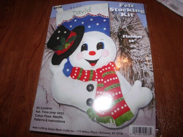 "Design Works Felt Jewel Stocking Kit TIPPING HIS HAT SNOWMAN 16"""