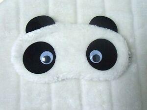 Masque-de-sommeil-nuit-repos-peluche-tete-de-panda-blanche-yeux-mobiles-original