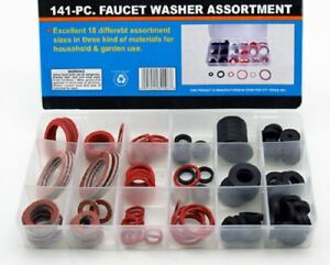 Rubber-Faucet-Washer-Assortment-141pc-Gummi-Fiber-Klingerith-Sink-Plumbing-NEW