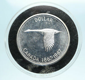1967-CANADA-Confederation-Founding-OLD-Goose-Genuine-Silver-Dollar-Coin-i83345