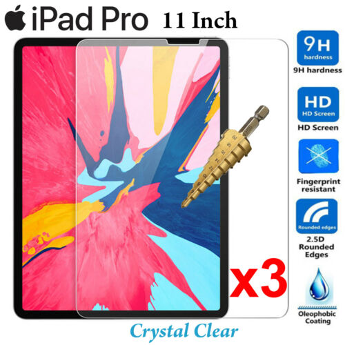 x3 Full 9H Tempered Glass Apple iPad PRO 11 inch screen protector 2018 2019