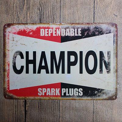 Champion Original Retro Metal Decor Spark Plug Gas Oil Garage Auto Shop Sign