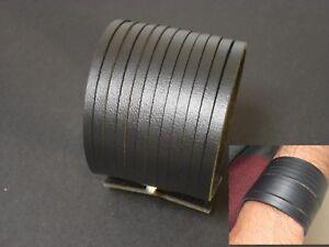 Unisex-Leather-Bracelet-Wristband-Wide-Black-Fast-Shipping-UK-Seller