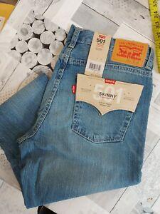 NEW men's LEVI'S 501 Skinny Stretch Jeans In Blue W30 L30
