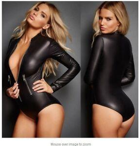 Sexy-PU-Leather-Bodysuit-Wet-Look-Long-Sleeve-Zip-Teddy-Leotard-Jumpsuit-Women-039-s