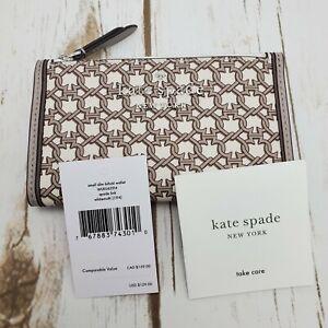 NWT-Kate-Spade-Link-Small-Slim-Bifold-Woman-Wallet-In-White-Multi-Beige-WLRU6294