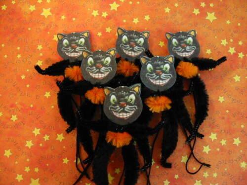primitive vintage style halloween black cat ornaments chenille feather tree - Halloween Tree Ornaments
