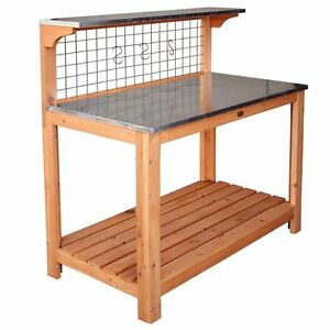 Solid Garden Table with Working Surface Wooden Metal Top Shelf BBQ Garage Tool