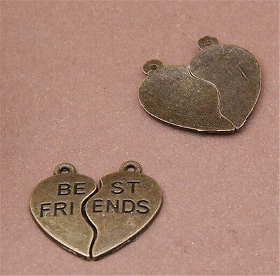 PJ605 10set Antique Bronze best friend Pendant Bead Charms Accessories wholesale