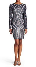 Adrianna Papell Long Sleeve Beaded Cocktail Dress Size 8-12 #C48 MSRP $280.00