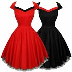 Hearts and Roses Rockabilly 50's Vintage Dress Red Black Pinup AU 10-20 PLUS