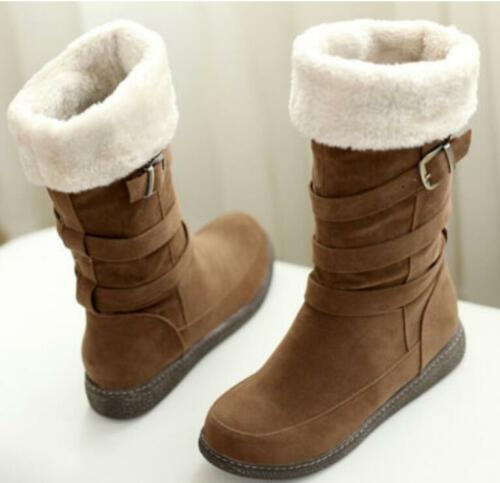 Women/'s Warm Winter Fur Lined Snow Pull On Oxford Buckle Mid Calf Boots Shoes