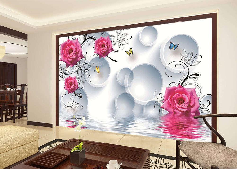 Flowers And Butterflies 3D Full Wall Mural Photo Wallpaper Print Home Kids Decor