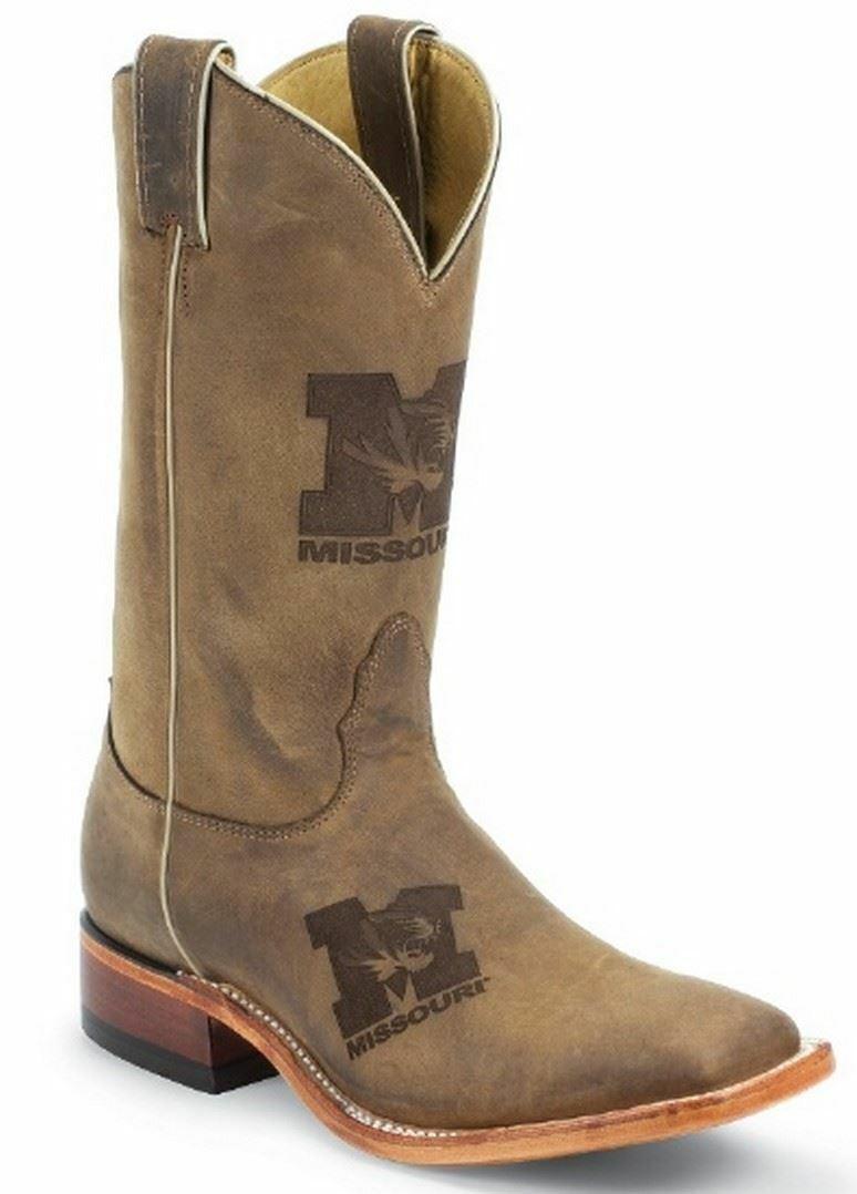 Nocona MDUM12 Mens University Of Missouri Brown Cowhide Branded College Boots