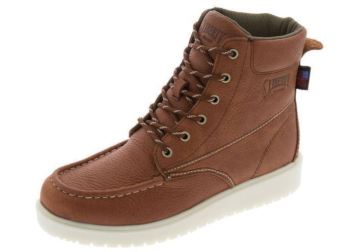 Liberty Footwear-GARY  6  Moc Toe Wedge bota-Soft Toe-rojizo de Color.