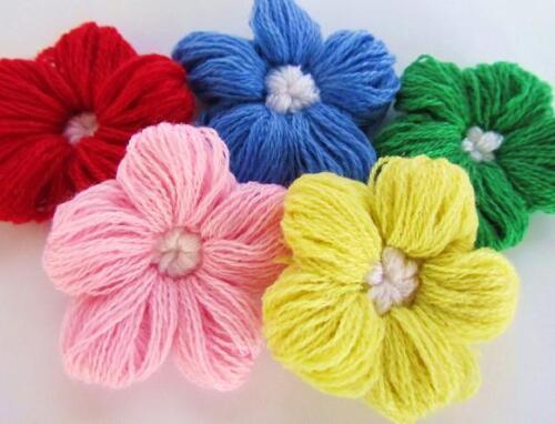 "5 Hand Made Big 2.25/"" Yarn Flower Brooch Craft Applique//Knit//Crochet//trim H235-B"