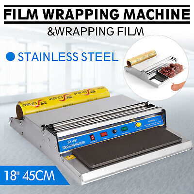 """18/"""" Food Tray Film Wrapper Wrapping Machine Sealer Cling Stainless CA Shipping"""