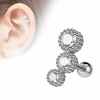 Cartilage Body Jewelry 3 Halo Crystals Set 16g 316l Surgical Steel
