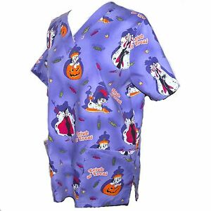 dbbcb17c4c4 Image is loading 101-Dalmatians-Halloween-Wonderful-World-Of-Disney-Scrub-