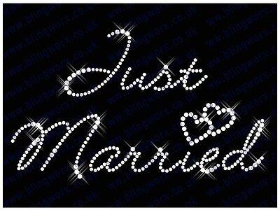 JUST MARRIED Iron On Hotfix Rhinestone Diamante Transfer HEN PARTY WEDDING