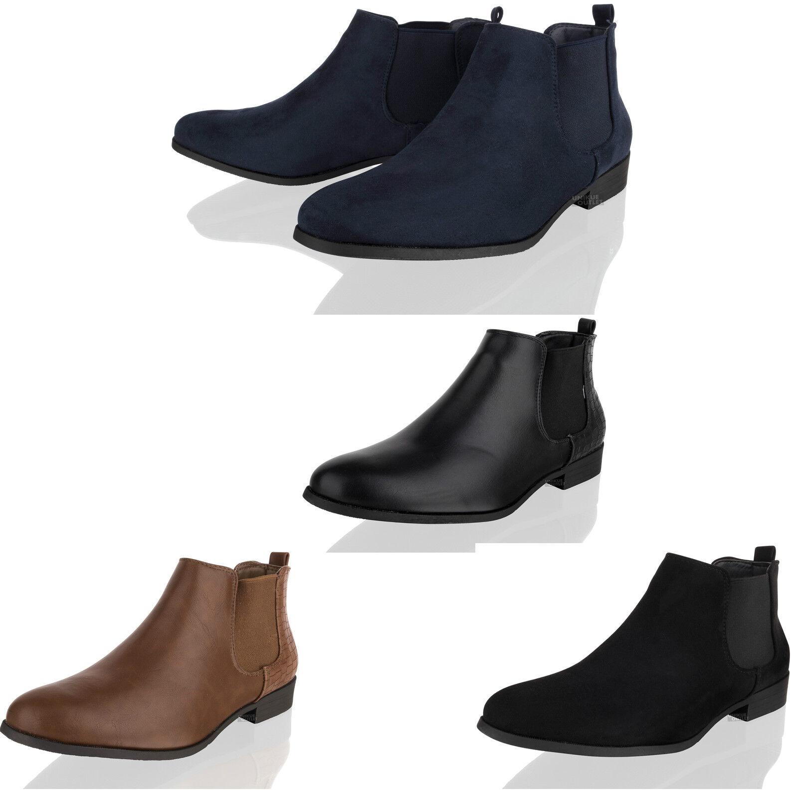 Womens Low Heel Chelsea Ladies Flat Block Heel Pixie Ankle Boots Shoes Size