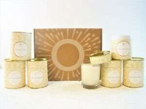 Lot-of-6-Soy-Wax-Candle-Wood-Wick-Unscented-60-Hour-Burn-Time-Glass-10-5oz-New