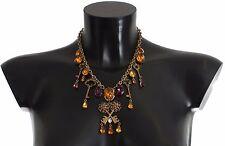 Dolce & Gabbana Gold Brass Floral Crystal Sacred Key Charms Necklace