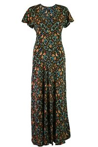 Womens-Ladies-Yessica-Black-Floral-Mix-Fit-and-Flare-Cap-Sleeve-Midi-Dress