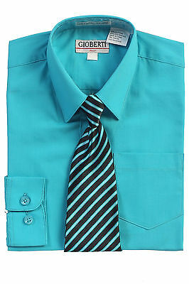 Gioberti Toddlers Kids Boys Long Sleeve Dress Shirt & Stripe Tie Set