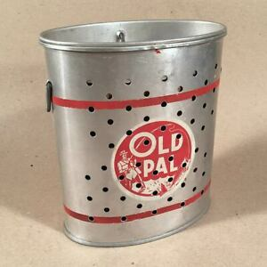 Vintage-Aluminum-OLD-PAL-WADING-MINNOW-BAIT-BUCKET-CAN-With-Straps-Pascagoula-MS