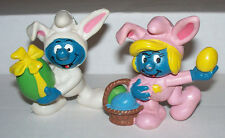 2 Holiday Bunny Suit Smurfette and Smurf Easter figure VTG 1982 Portugal Cute