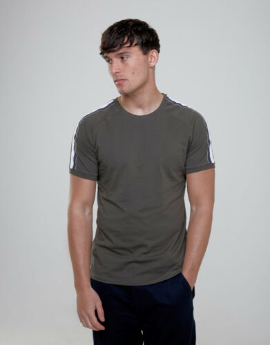 Mens Short Sleeve Wide Side Tape Taping T Shirt Top Casual Cotton S-2XL