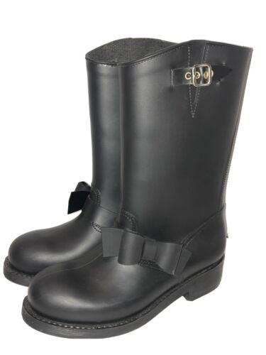 Valentino RED (V) Matte Black Bow Rain Boots Size