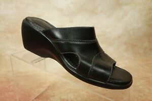 Clarks-Black-Leather-Open-Toe-Wedge-Heels-Pumps-Slides-Shoes-Womens-Size-6-5M-US