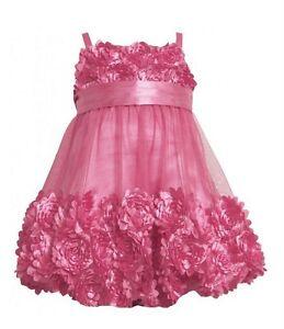 613461cf9d8e BONNIE JEAN KIDS FUCHSIA PINK DRESS DIE CUT BONAZ ROSETTE MESH ...