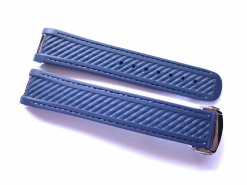 20mm Blue Rubber strap - Compatible Omega Aqua Terra and Seamaster 300 - 8900