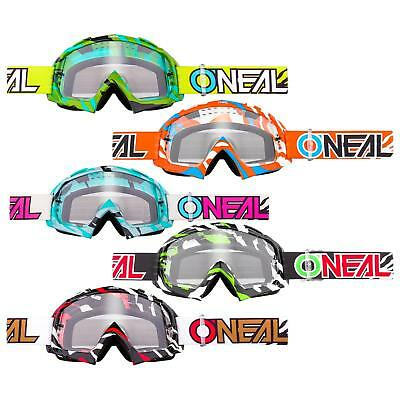 Oneal B-10 Goggle Stream Mx Occhiali Chiaro Moto Cross Dh Downhill Anti-fog Mtb-